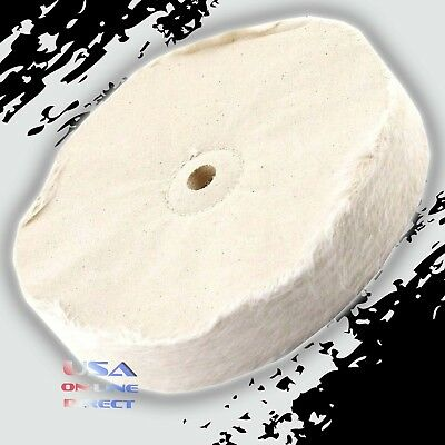 "5pc 8"" Extra Thick Single Stitch Loose Cotton Buffing Polishing Wheel for Metals"