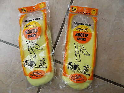 Lot(2), Vintage Sofpuff Bootie Socks Women's, fits sz 9-11,yellow, New old Stock