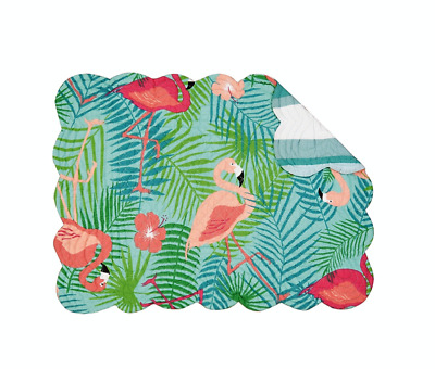 Flamingos, Palm Fronds Quilted Reversible Isla Tropics Placemat by C&F - Coastal