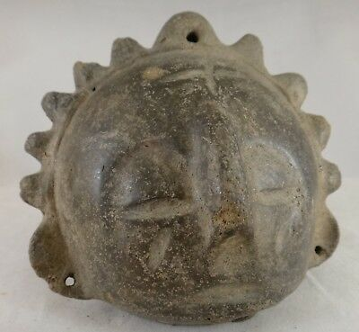 """Antique African Pottery head.  19th century or earlier.  4"""" x 3 5/8"""" tall."""