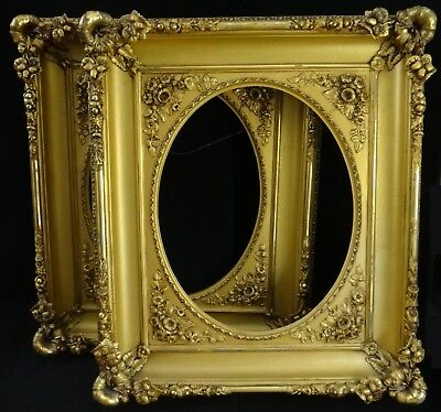 Pr.Large Antique American gold leafed/painted wood & gesso frames .c.1860's/70's