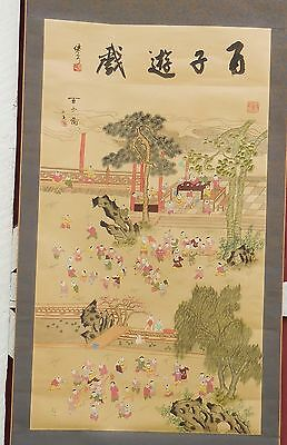 The Emperor and His 100 Children Hand Painted Wall Hanging Scroll Signed Vintage