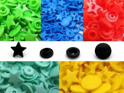 10 Colours Star KAM Snaps Size 20 T5 Plastic Poppers Fasteners Press Studs