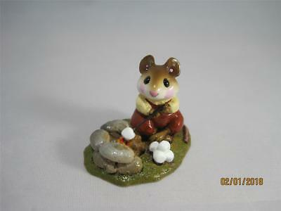 Wee Forest Folk M-109  Campfire Mouse - Retired - Older Style WFF Box & Brochure