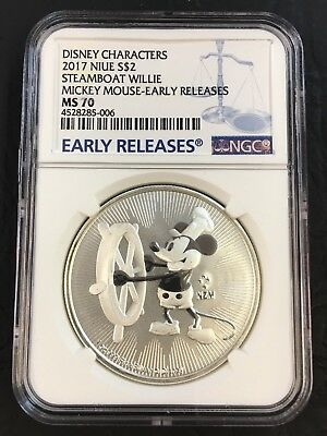 2017 Niue $2 Disney Steamboat Willie Mickey Mouse Silver NGC MS70 Early Releases