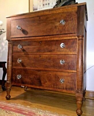 Federal Empire Chest with Columns, Flame Tiger Maple Wood, Circa1830s