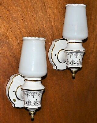 Vintage Porcelain MOE Bridges Mid Century Italy Electric Light Wall Sconces