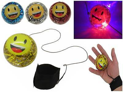 LED Returnball Leuchtball am Gummiband Glitter + Wasser Return Ball Flummi Licht