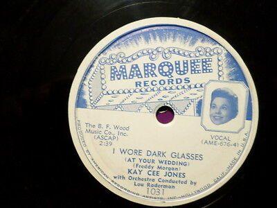 Marquee 78 Record/kay Cee Jones/ Japanese Farewell Song/i Wore Dark Glasses/ Vg