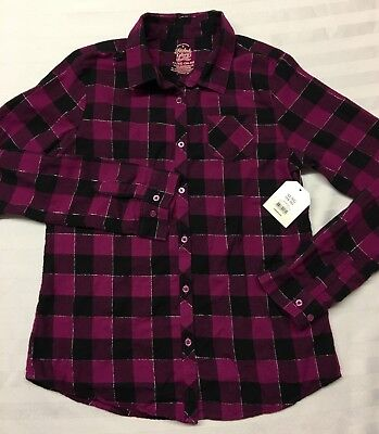 Girls Size Xl 14-16 Berry Bright Flannel Shirt Button Long Sleeve Faded Glory