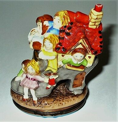 Halcyon Days Enamel Box - Old Woman Lived In A Shoe Bonbonniere - Nursery Rhymes