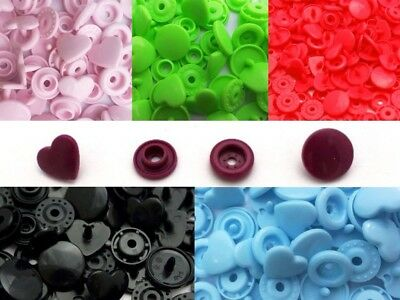 8 Colours Heart KAM Snaps Size 20 T5 Plastic Poppers Fasteners Press Studs