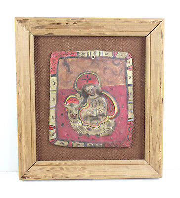 Vintage Mexican Mexico Art Pottery Folk Art Framed Plaster Plaque Wall Hanging