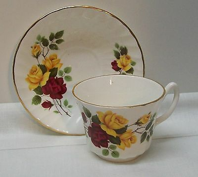 Fine Bone China Teacup and Saucer Maroon Yellow Roses Royal Sutherland Vintage