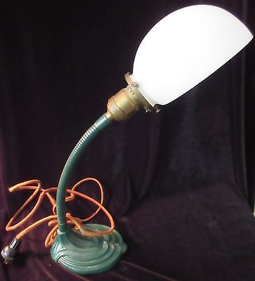 Nice Antique Original Duncan Smith Goose Neck - Milk Glass, Table/bed Lamp
