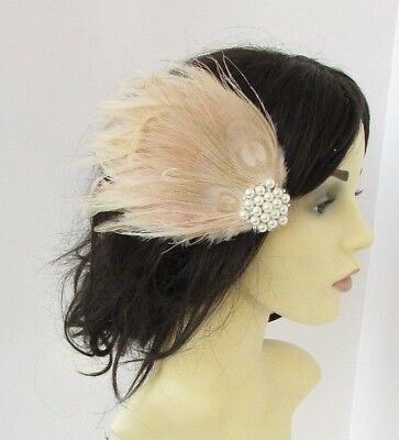 Beige Cream Pearl Feather Fascinator Hair Clip Races Headpiece Vintage 5182