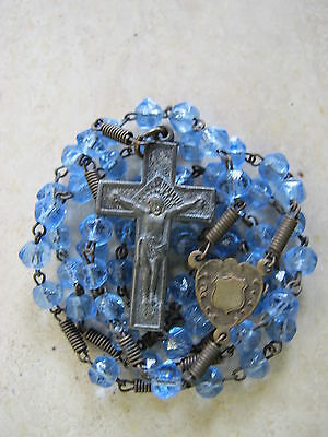 Antique Vintage Blue Glass Bead Catholic Rosary 14 inches long