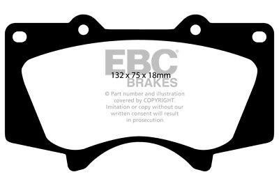 EBC Greenstuff Front Brake Pads for Toyota Fortuner 3.0 TD (2005 > 15)