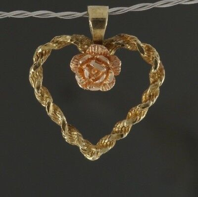 Vintage Valentines Day 14k Yellow & Rose Gold Brushed Twisted Heart Rose Pendant
