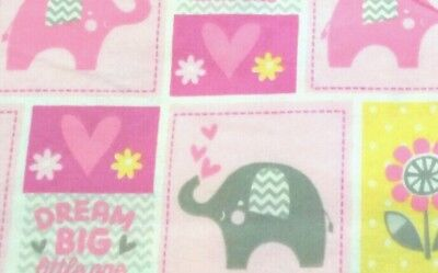 "NEW, HANDMADE, ""DREAM BIG"", 35x43in, GIRLS, FLANNEL BABY/TODDLER QUILTED BLANKET"