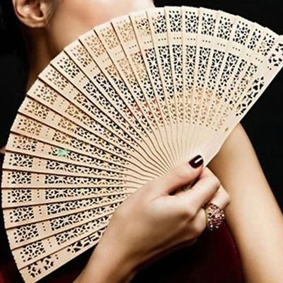 Fragrant Hand Carved Flower Hollow Bamboo Folding Fan Wooden Chinese Style