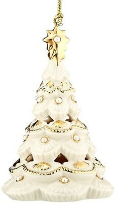 Lenox Florentine & Pearl Christmas Tree Ornament Gold Accented with Pearls New