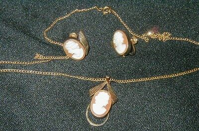 Vintage Van Dell 12K Gold  Plated Necklace & Earring Set, Cameo Decoration