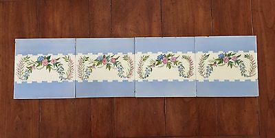 4 Antique 19thc. MINTONS CHINA WORKS Hand Painted Tiles Floral Frieze