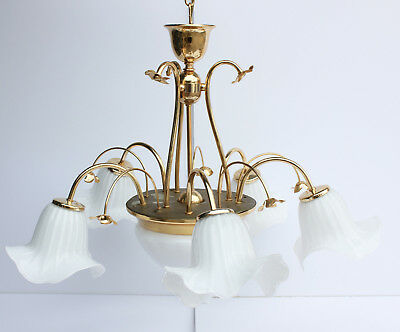 Vintage Gold and Brass White Milk Glass Flower Ceiling Chandelier Light Fixture