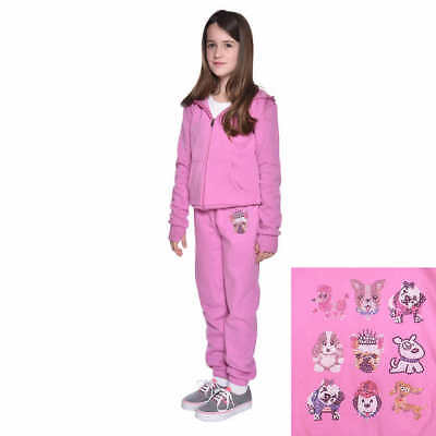 Butter Girls' Blinged Dog Super Soft Fleece 2 Pcs Full Zip Hoodie Set Pink XS-M