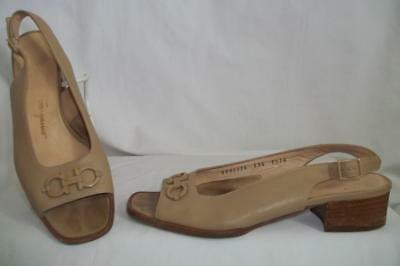 481ff0bb9c4 SALVATORE FERRAGAMO Tan Leather Slingback Open Toe Sandals Shoes 7.5 AA