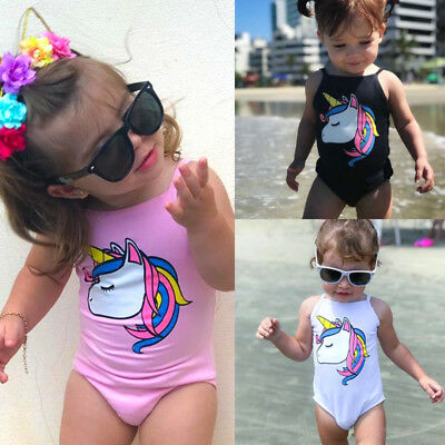 0-3T Newborn Kids Baby Girl Unicorn One-piece Swimsuit Swimwear Bathing Beach US