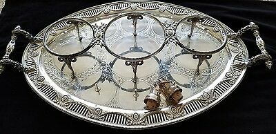 Superb Rare Antique Shiffield Silverplate Tray Server Chased/Engraved/Ram/Head