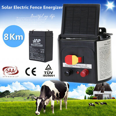 NEW 3-8KM Solar Electric Fence Energiser Farm 7.5V DC Rechargeable Powered 2018