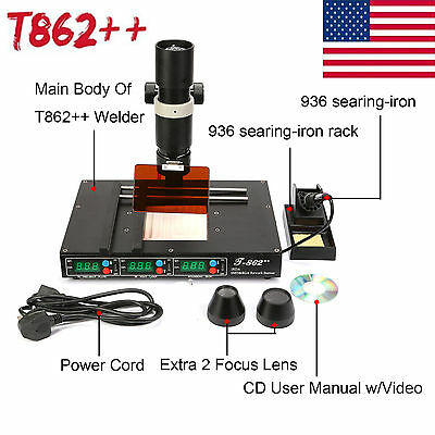 T862++ BGA Rework Station Infrared SMT SMD IRDA Welder Heating Solder Machine US