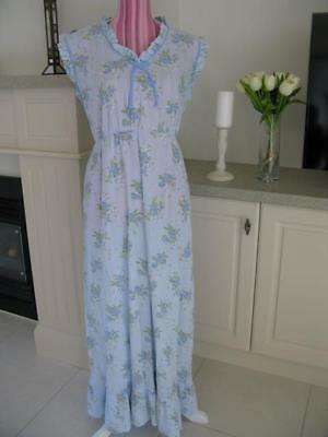 Vintage Nightie 14 Handmade pale blue floral spray print bias binding trim