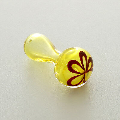2.6'' Mini Glass Tobacco Smoking Pipe Bong Hand Spoon Amber Flower Bowl TO CA