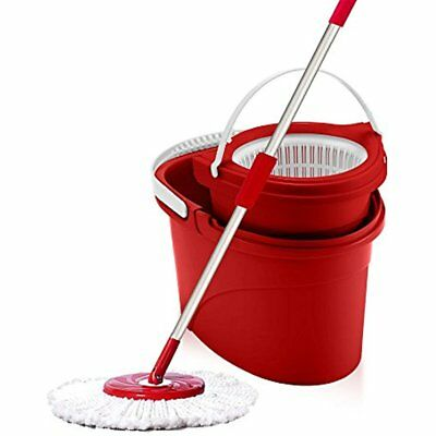 White Magic Hand Press 360 Spin Mop Bucket System + Microfiber Head Extendable