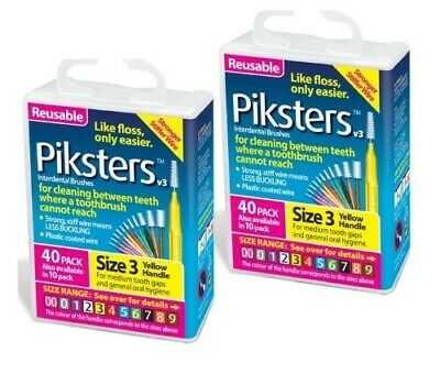 New 2 X Piksters Interdental Brush 40 Pack Size 3 Yellow Handle (80 Total)