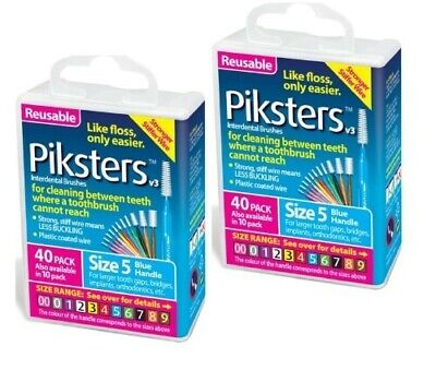 New 2 X Piksters Interdental Brush 40 Pack Size 5 Blue Handle (80 Total)