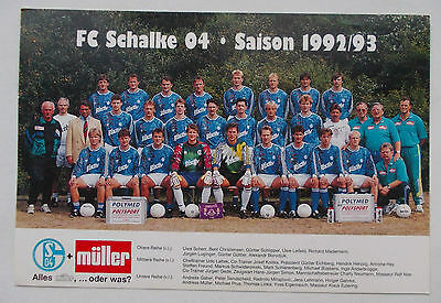 Photo card Schalke 04 Gelsenkirchen Germany 1992/93 football soccer Deutschland