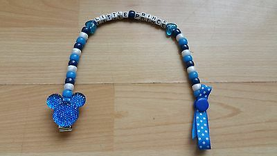 Baby Boy Dark Blue Bling Mickey Mouse Personalised Dummy Holder Clip