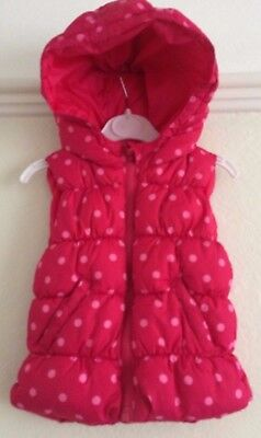 Baby Gap Girl's padded and hooded gilet, polka dot/pink, aged 2 years