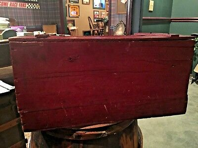 Vintage Antique Red Wooden Crate Box With Lid Old Chippy Paint