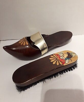 rare and beautiful Vintage shoe brush and holder carved wooden clog style lady