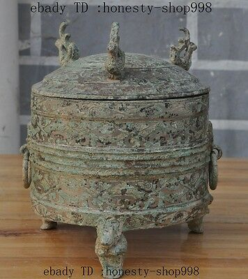 collect Chinese bronze Auspicious phoenix bird statue zun bottle pot Jar Crock