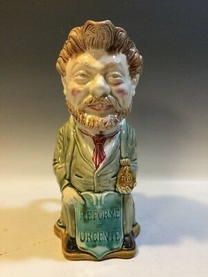 """Antique French Majolica Onnaing Political """"Deputy Baudon"""" Figural Pitcher"""