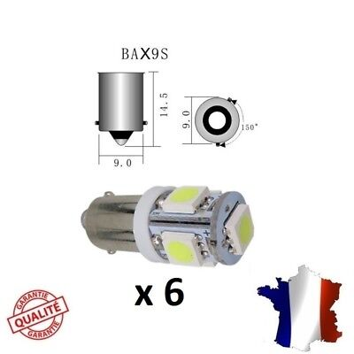 6 Ampoule LED BAX9S H6W veilleuse voiture Blanc Pur Lampe xenon tuning auto moto