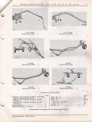 John Deere Hitches Minimum Tillage 9 9A 10 1112 15 Parts Catalogue  1967 4307F
