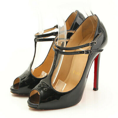 2fe05f20a4fa Authentic Christian Louboutin T Double T Strap Pumps Black Grade Ab Used -At